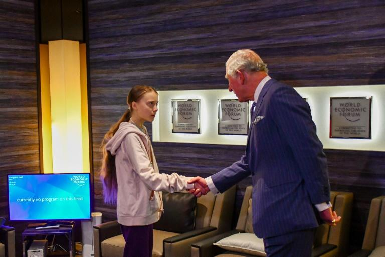 A handout picture released by Clarence House shows Britain's Prince Charles, greeting Swedish teen climate activist Greta Thunberg (L) at the World Economic Forum (WEF). He was one of few top leaders the young climate campaigner met at the forum