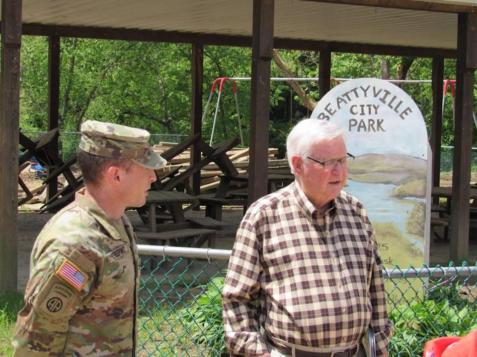 U.S. Rep. Hal Rogers, right, and Col. Eric Crispino, commander of the Louisville Division of the U.S. Army Corps of Engieeers, discuss at potential flood-control study for Beattyville on May 6, 2021. They were at park damaged in a flood.