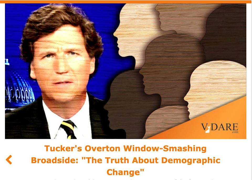 The white nationalist site VDare is also stoked about Tucker. (Photo: Screenshot)