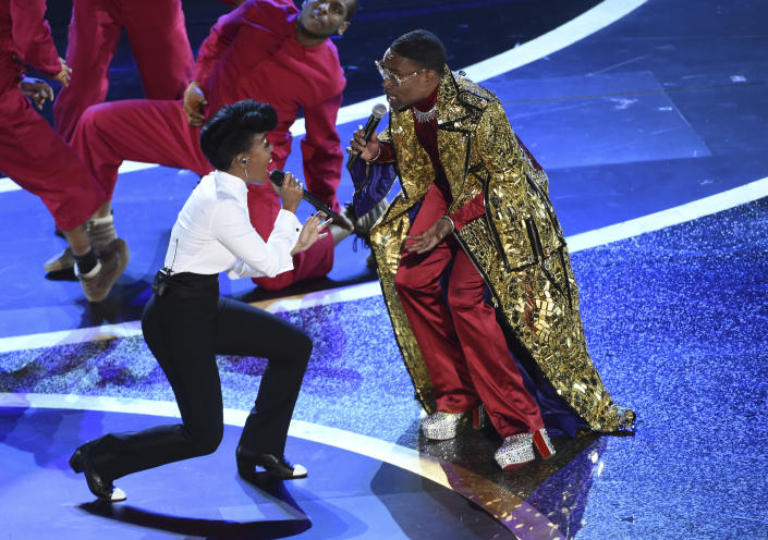 Janelle Monae, left, and Billy Porter perform onstage at the Oscars on Sunday, Feb. 9, 2020, at the Dolby Theatre in Los Angeles. (AP Photo/Chris Pizzello)