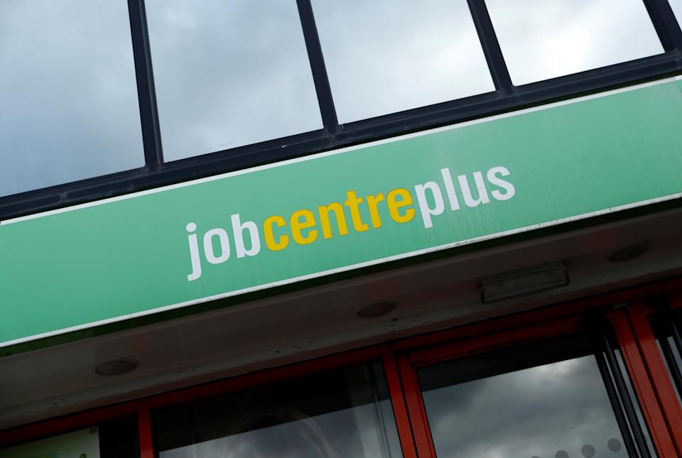 General view of the Jobcentre Plus logo at its building, as the spread of the coronavirus disease (COVID-19) continues, in Northwich, Britain, November 10, 2020. REUTERS/Jason Cairnduff