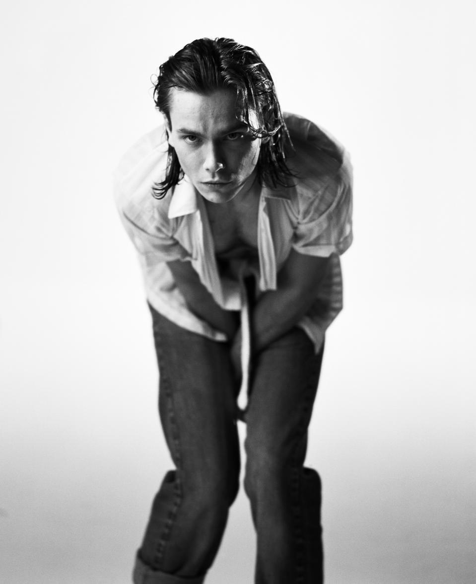 LOS ANGELES - 1993: Actor River Phoenix poses for a photo shoot in 1993 in a studio, in Los Angeles, California. These were the last photos shot of River Phoenix who died on October 31, 1993 from an overdose of heroin and cocaine at the age of only 23. (Photo by Michael Tighe/Donaldson Collection/Getty Images)