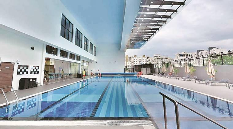 warm water swimming pool, warm water swimming pool opens in pune, bengaluru mumbai expressway warm water pool, david lloyd clubs talwalkars, maharashtra news, indian express news