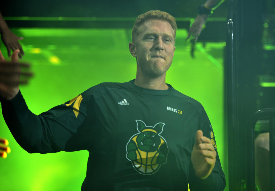 SALT LAKE CITY, UTAH - JULY 27: Brian Scalabrine #24 of the Ball Hogs enters the court during team introductions before the game against the Triplets during week six of the BIG3 three on three basketball league at Vivint Smart Home Arena on July 27, 2019 in Salt Lake City, Utah. (Photo by  Alex Goodlett/BIG3 via Getty Images)