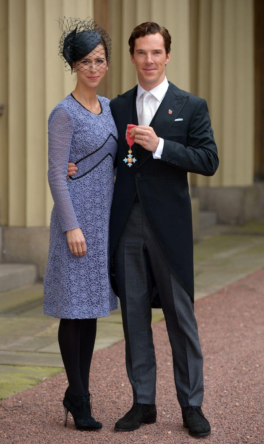 <p>Benedict Cumberbatch was bestowed with a Commander of the British Empire award in 2015. For the affair, the actor sported a traditional morning coat, while his wife, Sophie Hunter, wore a shift dress and netted fascinator.</p>