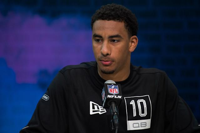Former Utah State quarterback Jordan Love answers questions from the media during the NFL scouting combine on Tuesday in Indianapolis. (Photo by Zach Bolinger/Icon Sportswire via Getty Images)