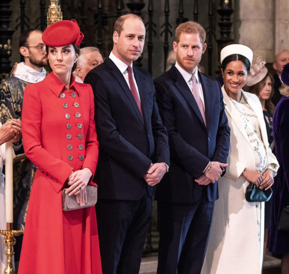 Prince William The Duke of Cambridge and Catherine The Duchess of Cambridge, Prince Harry The Duke of Sussex and Meghan The Duchess of Sussex attend the Commonwealth Day Service at Westminster Abbey as rift rumours abate in wake of pregnancy announcement from Meghan
