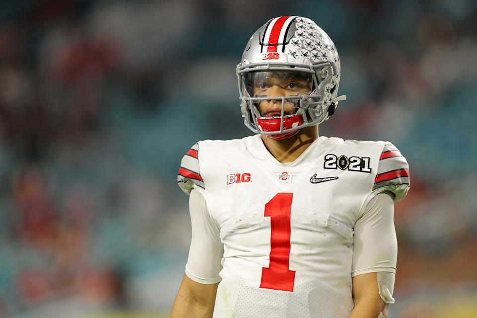 Justin Fields could be special for the Chicago Bears, and that makes his football card an intriguing investment. (Photo by Kevin C. Cox/Getty Images)