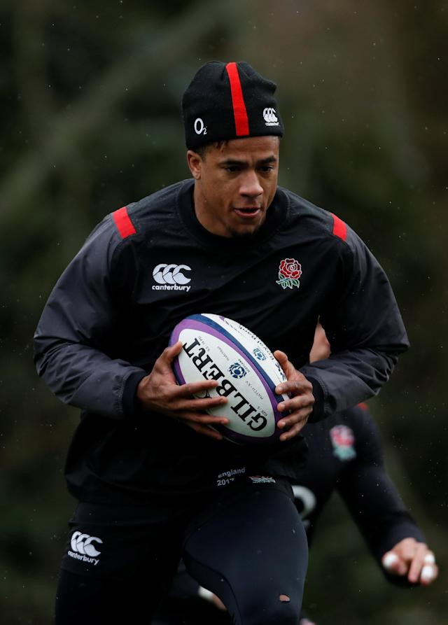 Rugby Union - England Training - Pennyhill Park, Bagshot, Britain - February 20, 2018 England's Anthony Watson during training Action Images via Reuters/Paul Childs
