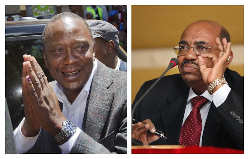 This combination image made from two file photos showing Kenyan President-Elect Uhuru Kenyatta, at left, gesturing to queuing voters after casting his vote near Gatundu, north of Nairobi, in Kenya Monday, March 4, 2013, and the photo at right, showing Sudanese President Omar al-Bashir speaking to reporters during a visit to Tripoli, Libya Saturday, Jan. 7, 2012.  A top Kenyan official said Monday April 8, 2013, that Sudanese President Omar al-Bashir is not traveling to Nairobi to attend Tuesday's presidential inauguration despite press reports to the contrary, adding that Sudan's government is invited but not al-Bashir. (AP Photo)