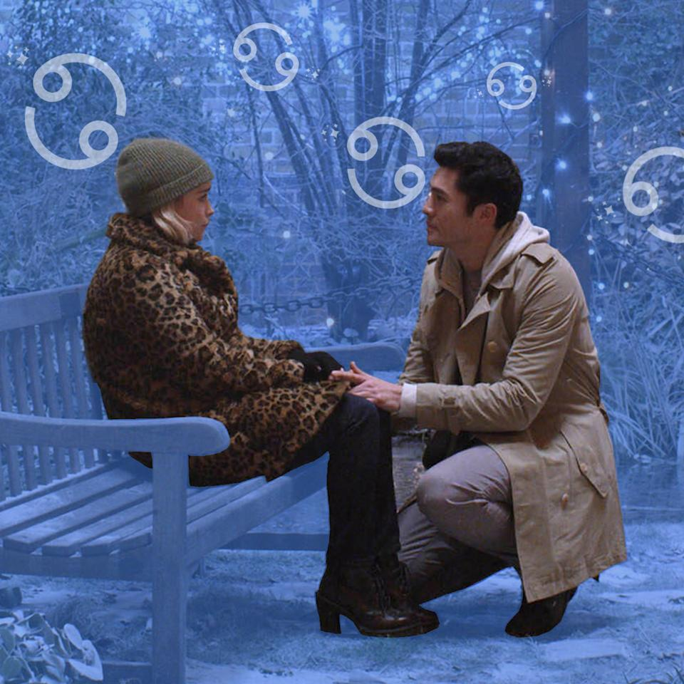 """<p><strong>What the astrologist says:</strong> """"Period pieces all the way for Cancers. Perhaps some tears—anything with lots of emotional drama. That said, Cancers are also quite happy with simple, classic love stories. Movies with family scenes, lots of family history, or just set in the home or family business will appeal.""""</p> <p><strong>What we recommend:</strong> If a Cancer is looking for a love story with lots of family scenes, then we recommend <em>Moonstruck</em>. It's about an Italian-American woman who falls in love with her fiancé's younger brother—and the chaos it causes their families. <em>Last Christmas,</em> which follows a young woman trying to clean up her mess of a life, will appeal to the more emotional side.</p>"""