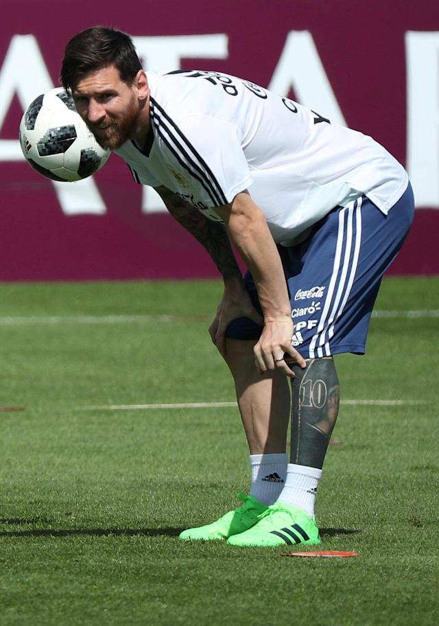 Soccer Football - World Cup - Argentina Training - Bronnitsy Training Centre, Moscow Region, Russia - June 25, 2018. Argentina's Lionel Messi during training. REUTERS/Albert Gea