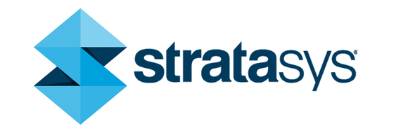 Stratasys' logo -- a vertical blue arrow with points up and down, which also resembles an