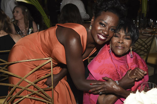<p>Viola Davis and Cicely Tyson posed at the Governors Ball. (Photo: Richard Shotwell/Invision/AP) </p>