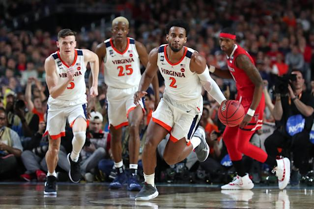 Braxton Key #2 of the Virginia Cavaliers handles the ball on offense against the Texas Tech Red Raiders in the first half during the 2019 NCAA men's Final Four National Championship game at U.S. Bank Stadium on April 08, 2019 in Minneapolis, Minnesota. (Photo by Tom Pennington/Getty Images)