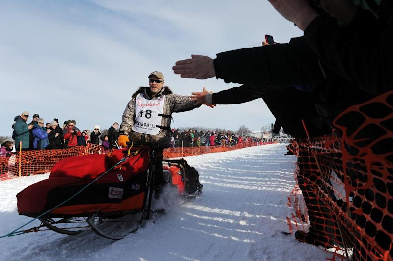 Jeff King is high-fived in the start chute as he leaves the starting line for the Iditarod Trail Sled Dog Race, Sunday, March 3, 2013, in Willow, Alaska. 65 teams will be making their way through punishing wilderness toward the finish line in Nome on Alaska's western coast 1,000 miles away. (AP Photo/The Anchorage Daily News, Bob Hallinen) LOCAL TV OUT (KTUU-TV, KTVA-TV) LOCAL PRINT OUT (THE ANCHORAGE PRESS, THE ALASKA DISPATCH)