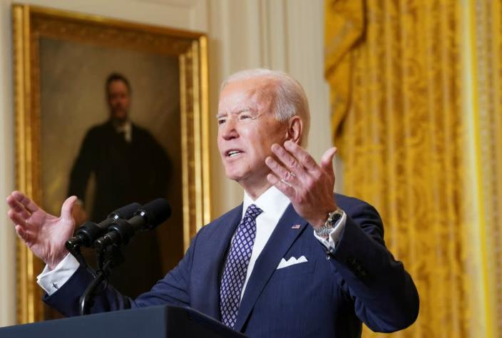 U.S. President Biden takes part in Munich Security Conference virtual event from the White House in Washington