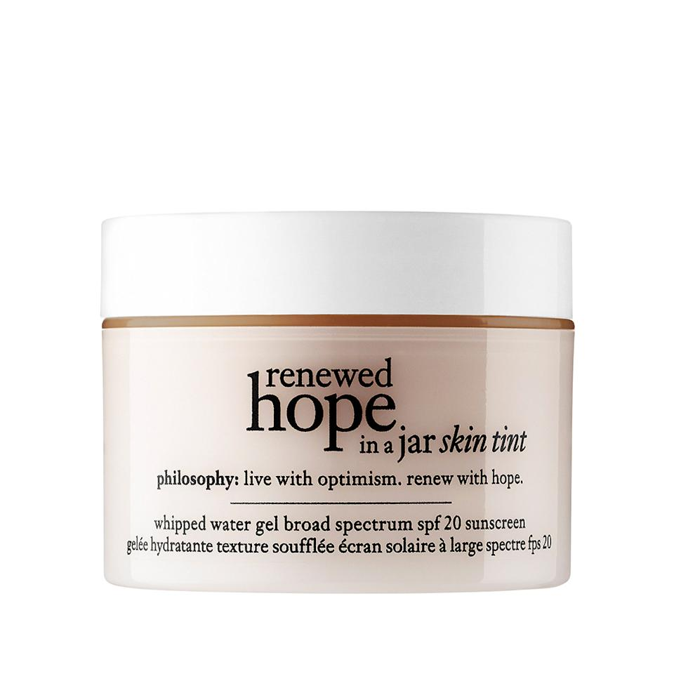 """<p>From the folks who brought us a cult-favorite moisturizer comes a new and improved version with the perfect amount of hydration and light coverage. Philosophy's new whipped tinted moisturizer has the water-gel texture we love about the original to keep dry skin thoroughly hydrated all day long, and a gorgeous tint that blends seamlessly into the skin.(<a rel=""""nofollow"""" href=""""http://www.sephora.com/renewed-hope-in-jar-skin-tint-P417009"""">$39</a>, Sephora) </p>"""
