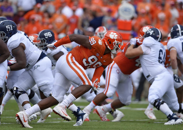 FILE - In this Sept. 15, 2018, file photo, Clemson's Clelin Ferrell (99) rushes into the backfield during the first half of the team's NCAA college football game against Georgia Southern in Clemson, S.C. Clemsons defensive line came into the season with a ton of hype after Christian Wilkins, Austin Bryant and Ferrell all bypassed the chance to go to the NFL after 2017. Ferrell, an explosive pass rusher, has the most NFL upside. (AP Photo/Richard Shiro, File)