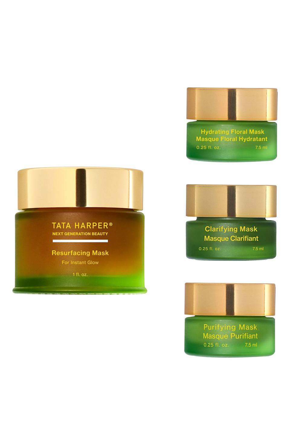 """<p><strong>Tata Harper Skincare</strong></p><p>nordstrom.com</p><p><strong>$78.00</strong></p><p><a href=""""https://go.redirectingat.com?id=74968X1596630&url=https%3A%2F%2Fwww.nordstrom.com%2Fs%2Ftata-harper-skincare-resurfacing-mask-mix-mask-set-126-value%2F5607364&sref=https%3A%2F%2Fwww.elle.com%2Fbeauty%2Fg36944650%2Fnorstrom-anniversary-beauty-sale-2021%2F"""" rel=""""nofollow noopener"""" target=""""_blank"""" data-ylk=""""slk:Shop Now"""" class=""""link rapid-noclick-resp"""">Shop Now</a></p><p>Masking should be an Olympic sport, but in order to get the gold you need the right equipment. In this case, that means a trio of the most effective, best-loved face masks in the game.</p>"""