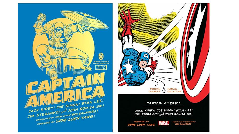 Hardcover and softcover cover art for the Penguin Marvel Classic Captain America collection.