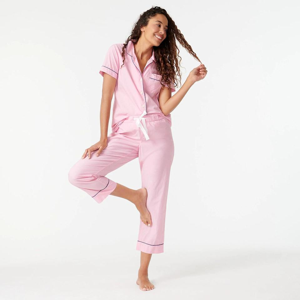 """<h3>J.Crew Vintage short-sleeve pajama set<br></h3><br>These 100% cotton PJs are cute-and-cozy <a href=""""https://www.refinery29.com/en-us/womens-loungewear"""" rel=""""nofollow noopener"""" target=""""_blank"""" data-ylk=""""slk:loungewear attire"""" class=""""link rapid-noclick-resp"""">loungewear attire</a> that you'll want to wear 24/7. (Monogram them for an extra-special touch.)<br><br><strong>J.Crew</strong> Vintage short-sleeve pajama set, $, available at <a href=""""https://go.skimresources.com/?id=30283X879131&url=https%3A%2F%2Fwww.jcrew.com%2Fp%2Fshops%2Fup_to_60_off_cold_weather_styles%2Fpajamas%2Fvintage-shortsleeve-pajama-set%2FH4401"""" rel=""""nofollow noopener"""" target=""""_blank"""" data-ylk=""""slk:J.Crew"""" class=""""link rapid-noclick-resp"""">J.Crew</a>"""