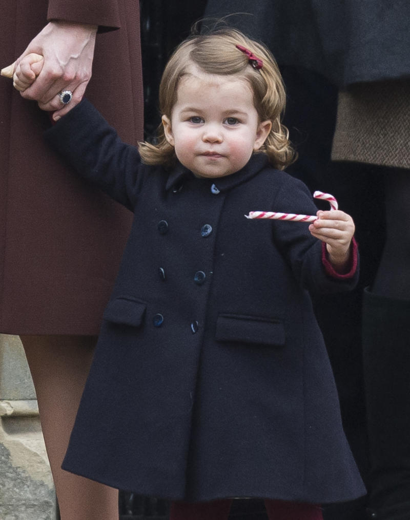 BUCKLEBURY, BERKSHIRE - DECEMBER 25: Princess Charlotte of Cambridge attends Church on Christmas Day on December 25, 2016 in Bucklebury, Berkshire. (Photo by Samir Hussein/Samir Hussein/WireImage)