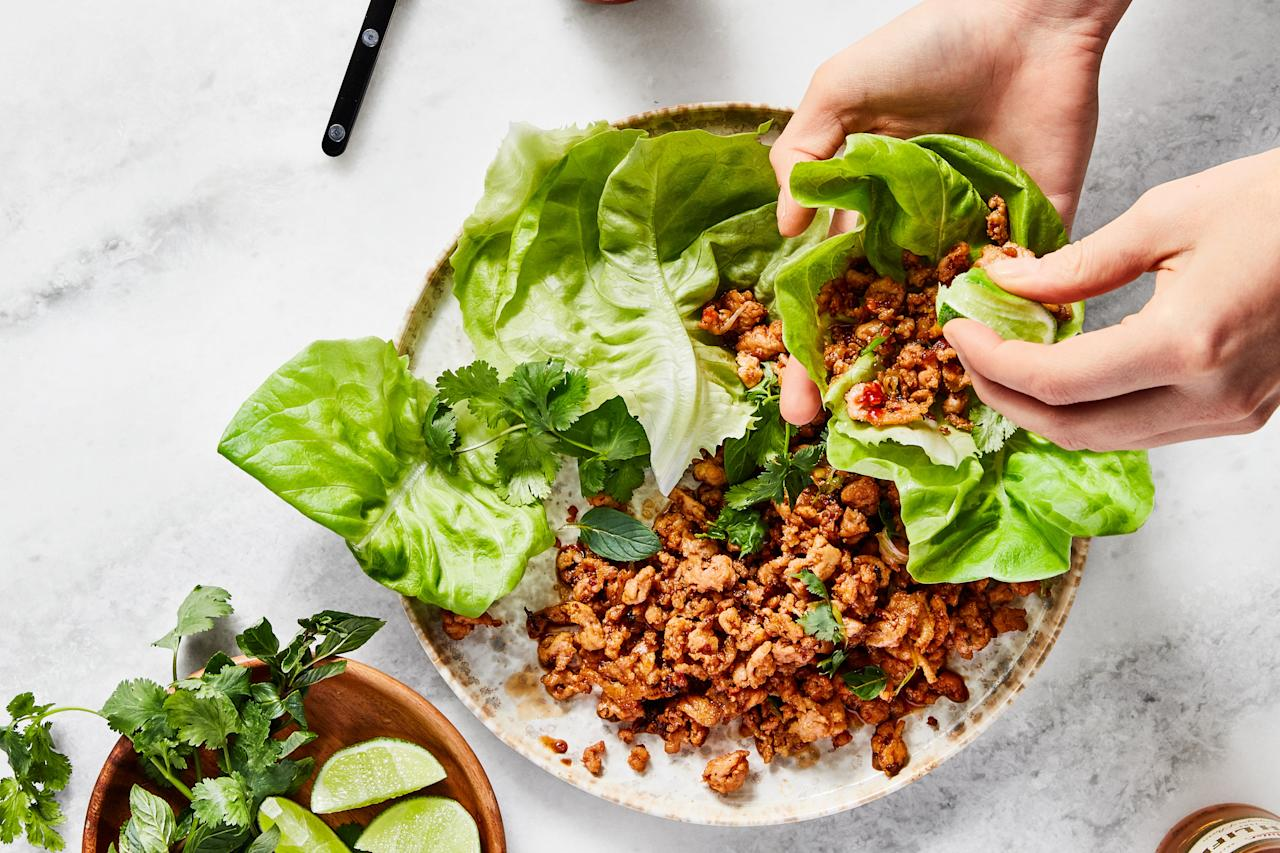 "Low investment and high reward, let this not-so-traditional larb become your next late-night go-to meal. <a href=""https://www.epicurious.com/recipes/food/views/spicy-chicken-lettuce-wraps?mbid=synd_yahoo_rss"">See recipe.</a>"
