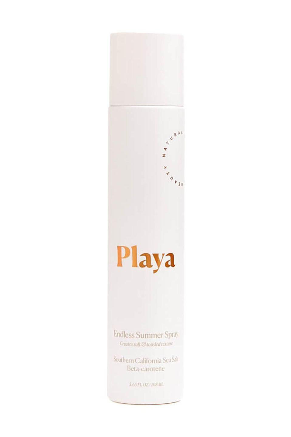 """<p><strong>Playa</strong></p><p>amazon.com</p><p><strong>$40.00</strong></p><p><a href=""""https://www.amazon.com/dp/B0765C4G89?tag=syn-yahoo-20&ascsubtag=%5Bartid%7C10058.g.2902%5Bsrc%7Cyahoo-us"""" rel=""""nofollow noopener"""" target=""""_blank"""" data-ylk=""""slk:SHOP IT"""" class=""""link rapid-noclick-resp"""">SHOP IT </a></p><p>The name says it all: endless summer spray. This alcohol-free formula uses chia seeds extracts to cloak your hair in a veil of shine that will enhance your curl patten and amp up your volume.</p>"""