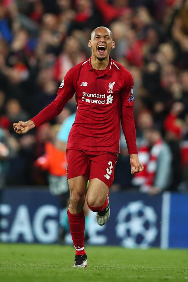 Fabinho of Liverpool celebrates after the UEFA Champions League Semi Final second leg match between Liverpool and Barcelona at Anfield on May 07, 2019 in Liverpool, England. (Photo by Clive Brunskill/Getty Images)