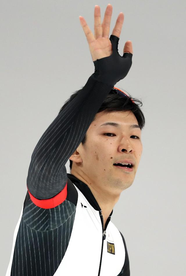 Speed Skating - Pyeongchang 2018 Winter Olympics - Men's 1000m competition finals - Gangneung Oval - Gangneung, South Korea - February 23, 2018 - Takuro Oda of Japan reacts after his race. REUTERS/Lucy Nicholson