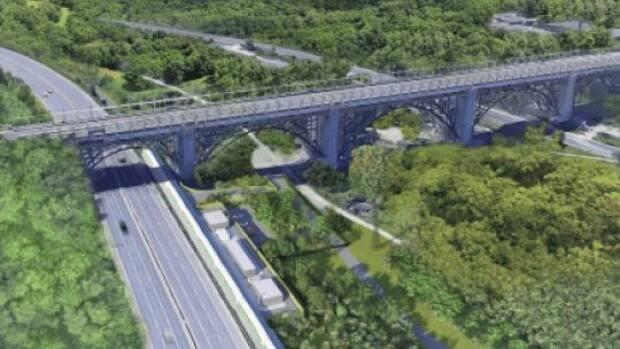 A rendering from Metrolinx shows the current plan for its layover site near the Prince Edward Viaduct.