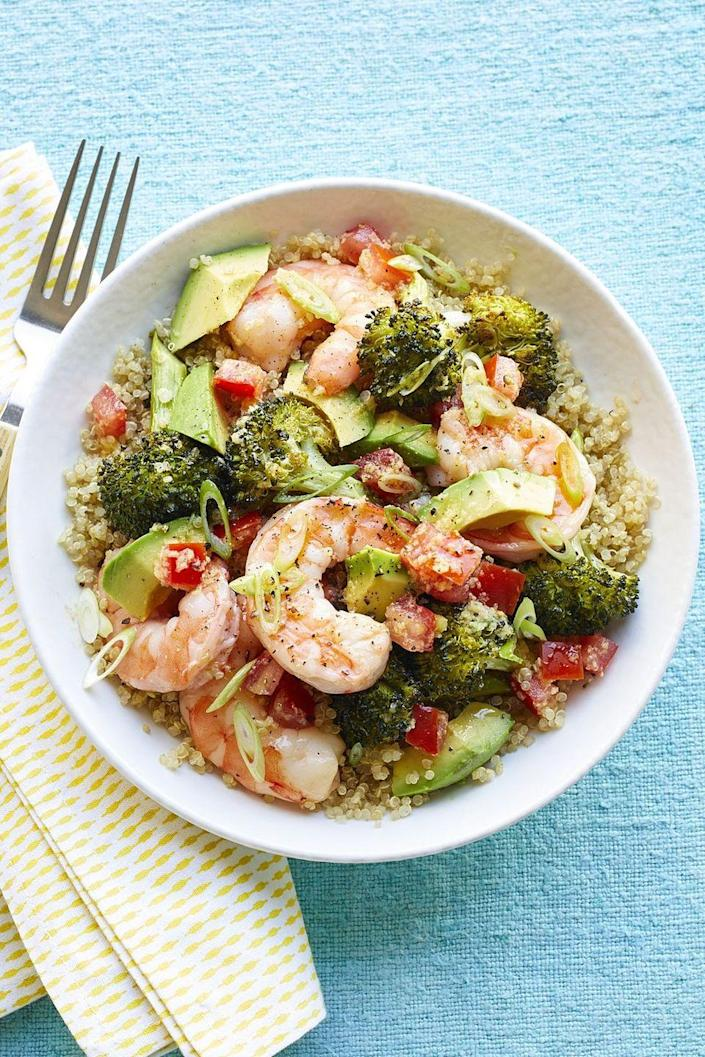 """<p>Loaded with oven-roasted broccoli, shrimp and avocado, this bowl tastes great with quinoa or rice.</p><p><em><a href=""""https://www.womansday.com/food-recipes/food-drinks/recipes/a59773/shrimp-bowls-scallion-vinaigrette-recipe/"""" rel=""""nofollow noopener"""" target=""""_blank"""" data-ylk=""""slk:Get the recipe for Shrimp Bowls with Scallion Vinaigrette »"""" class=""""link rapid-noclick-resp"""">Get the recipe for Shrimp Bowls with Scallion Vinaigrette »</a></em></p><p><strong>RELATED: </strong><a href=""""https://www.goodhousekeeping.com/food-recipes/healthy/g572/healthy-shrimp-recipes/"""" rel=""""nofollow noopener"""" target=""""_blank"""" data-ylk=""""slk:28 Healthy and Delicious Ways to Eat All the Shrimp"""" class=""""link rapid-noclick-resp"""">28 Healthy and Delicious Ways to Eat All the Shrimp</a><br></p>"""