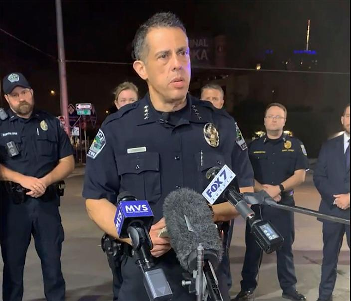 Austin interim police chief Joseph Chacon briefs reporters after a shooting in Austin, Texas (AP)
