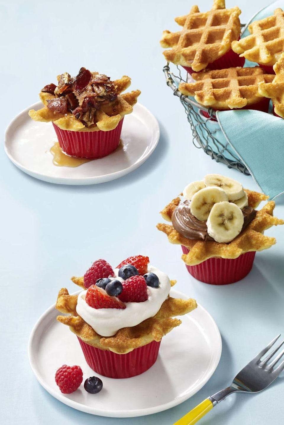 "<p>Here's your official excuse to eat dessert for breakfast: Cupcake batter baked in a waffle iron creates fun treats that are even better with a drizzle of maple syrup!</p><p><em><a href=""https://www.womansday.com/food-recipes/food-drinks/recipes/a57925/wafflecakes-recipe/"" rel=""nofollow noopener"" target=""_blank"" data-ylk=""slk:Get the recipe from Woman's Day »"" class=""link rapid-noclick-resp"">Get the recipe from Woman's Day »</a></em></p>"