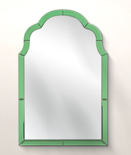 """<strong>Under £150</strong><br><br>The green trim on this mirror reminds me of a church's stained glass window and I love it. It would look equally nice in my bedroom and in the hallway. I want one in every colour!<br><br><strong>Oliver Bonas</strong> Aurora Green Glass Wall Mirror, $, available at <a href=""""https://www.oliverbonas.com/homeware/aurora-green-glass-wall-mirror-252690"""" rel=""""nofollow noopener"""" target=""""_blank"""" data-ylk=""""slk:Oliver Bonas"""" class=""""link rapid-noclick-resp"""">Oliver Bonas</a>"""