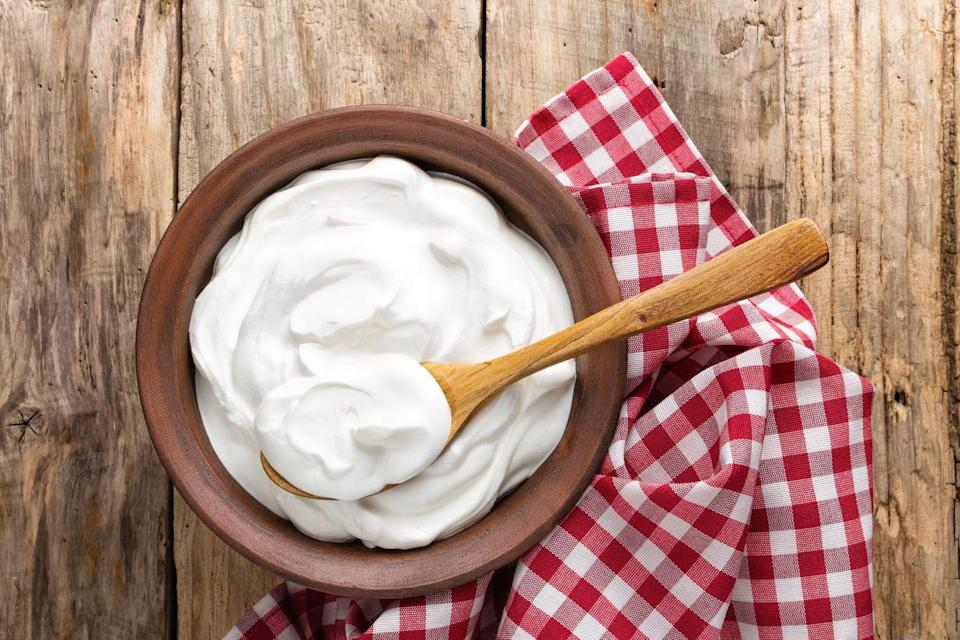 """<p>There's a good reason Greek yogurt makes a <a href=""""https://www.prevention.com/food-nutrition/healthy-eating/g23709836/high-protein-breakfasts/"""" rel=""""nofollow noopener"""" target=""""_blank"""" data-ylk=""""slk:healthy breakfast"""" class=""""link rapid-noclick-resp"""">healthy breakfast</a>. It's packed with protein and is low in carbs and sugar. In fact, one 170-gram container of nonfat Greek yogurt contains a whopping 17 grams of protein—nearly 40 percent of the recommended daily allowance for women and around 30 percent for men. Deborah Malkoff-Cohen, RD, founder and owner of <u><a href=""""https://www.nyceatwell.com/"""" rel=""""nofollow noopener"""" target=""""_blank"""" data-ylk=""""slk:City Kids Nutrition"""" class=""""link rapid-noclick-resp"""">City Kids Nutrition</a></u> recommends pairing Greek yogurt with granola and fresh berries as a breakfast. You can also swap it for mayo in creamy dips and sour cream in mashed potatoes, soups, or sauces.</p>"""