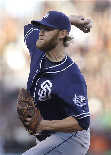 San Diego Padres' Andrew Cashner works against the San Francisco Giants in the first inning of a baseball game Saturday, April 20, 2013, in San Francisco. (AP Photo/Ben Margot)