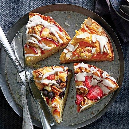 "<p>Customize your topping with any fruit-nut combo. We like plum preserves, sliced plums, and almonds, or strawberry jam, sliced strawberries, and pecans. </p><p><a href=""https://www.myrecipes.com/recipe/buttermilk-coffee-cake"">Any Flavor Buttermilk Coffee Cake Recipe</a></p>"