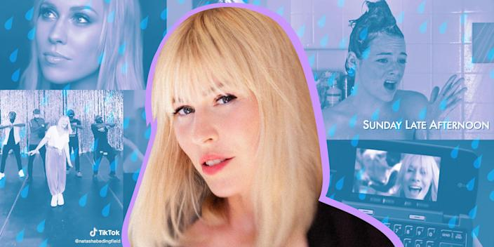 """Natasha Bedingfield against a blue and purple backdrop featuring raindrops and screenshots from her music videos, TikTok, and the """"Easy A"""" scene where Emma Stone sings """"Pocketful of Sunshine"""""""