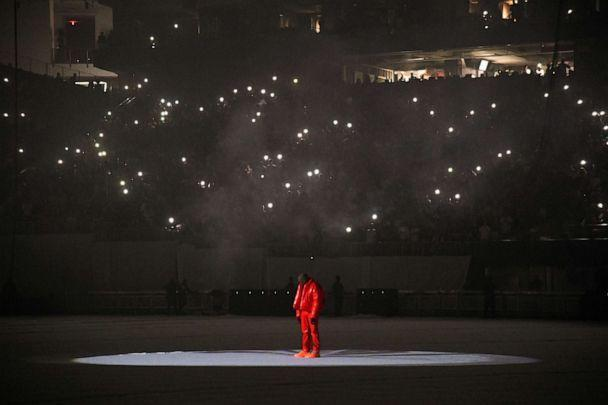 PHOTO: Kanye West at 'DONDA by Kanye West' listening event at Mercedes-Benz Stadium, July 22, 2021, in Atlanta. (Kevin Mazur/Getty Images for Universal Music)