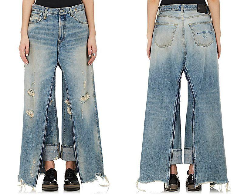 """<p>If you have a burning hatred for jorts, wait until you see jirts. Nope, not jean skirts, jeans <em>and</em> skirts, and they're as ugly as they sounds. Exhibit A: the <a rel=""""nofollow"""" href=""""http://www.barneys.com/product/r13-sashah-skirt-layered-distressed-straight-jeans-505196039.html"""">Sashah Skirt-Layered Distressed Straight Jeans</a> by designer R13. The maxi skirt and high-cuffed jeans combo will set you back $990.<em> (Photo: Barneys)</em> </p>"""