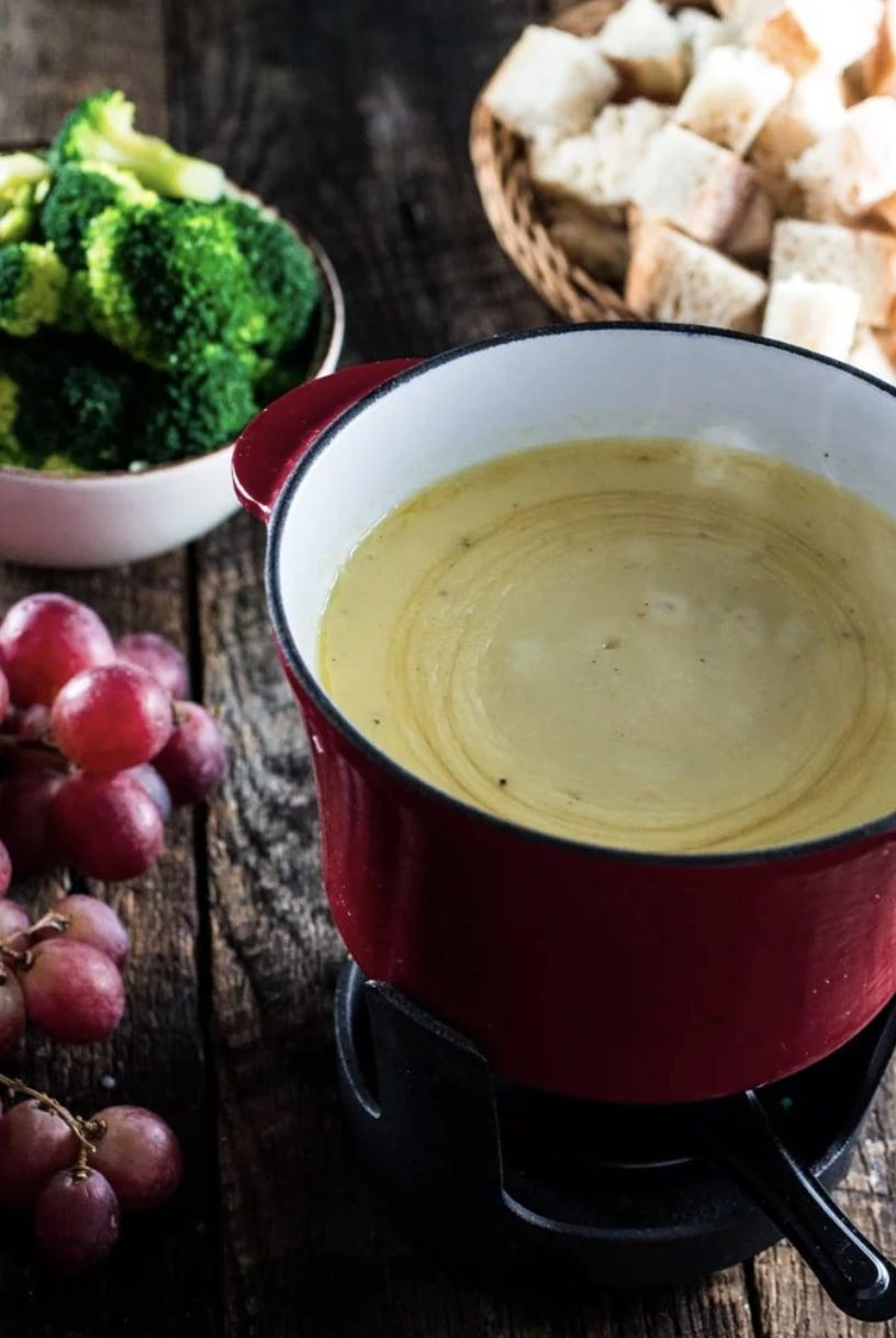 "<p>This fondue is full of the classic flavors you know and love, and wow, is it good. The warm cheese will effortlessly coat anything you dip in it, so try it with grapes, fresh veggies, cubed bread, and more. </p> <p><strong>Get the recipe</strong>: <a href=""https://www.oliviascuisine.com/swiss-cheese-fondue/"" class=""link rapid-noclick-resp"" rel=""nofollow noopener"" target=""_blank"" data-ylk=""slk:gruyère cheese fondue"">gruyère cheese fondue</a></p>"