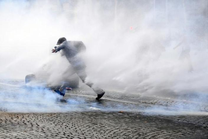 In France police deployed teargas and water cannon against some protesters