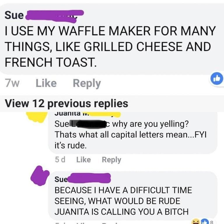 person typing in all caps and getting yelled at for it and they say what would actually be rude is calling you a bitch