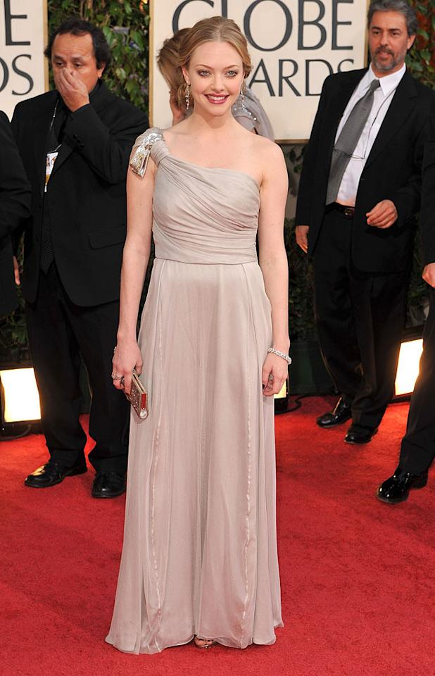 "Amanda Seyfried (""Mamma Mia!"") looked chic in a Grecian-styled dress. Steve Granitz/<a href=""http://www.wireimage.com"" target=""new"">WireImage.com</a> - January 11, 2009"