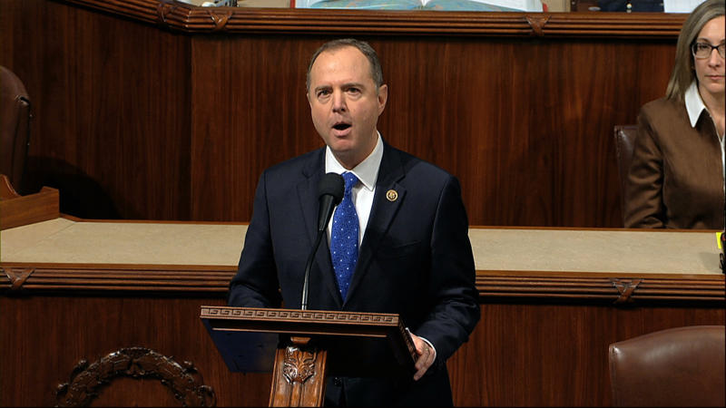 House Intelligence Committee Chairman Adam Schiff, D-Calif., speaks as the House of Representatives debates the articles of impeachment against President Donald Trump at the Capitol in Washington, Wednesday, Dec. 18, 2019. (House Television via AP)