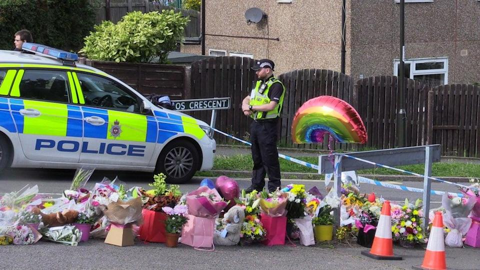 Flowers near to the scene in Chandos Crescent, Killamarsh, near Sheffield, where the bodies of John Paul Bennett, 13, Lacey Bennett, 11, their mother Terri Harris, 35, and Lacey�s friend Connie Gent, 11, were discovered at a property on Sunday morning. Picture date: Tuesday September 21, 2021. (PA Wire)