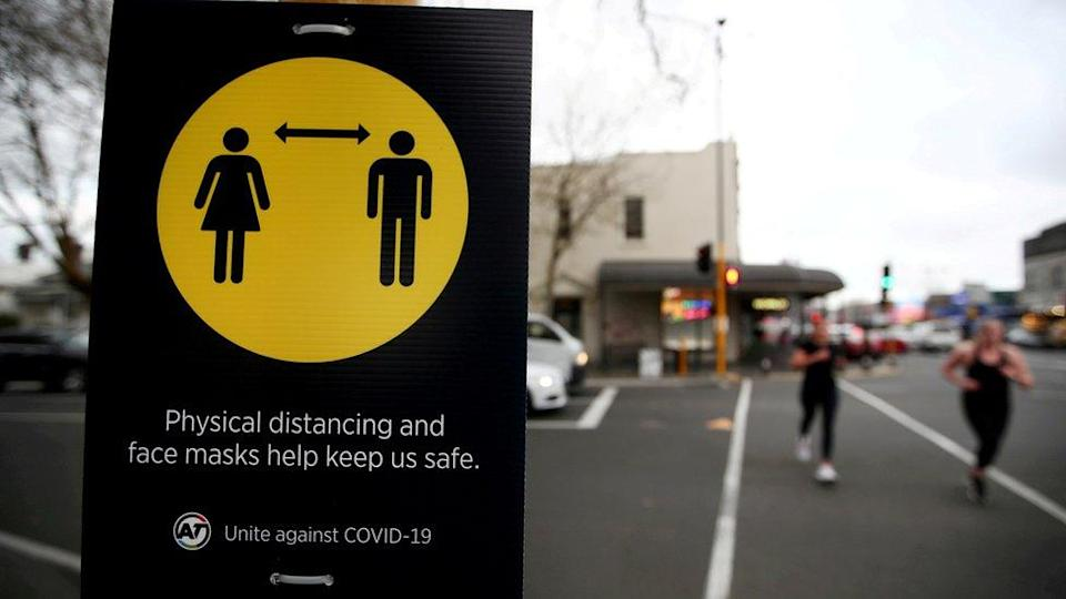 Social distancing sign at Auckland airport, New Zealand (file pic)