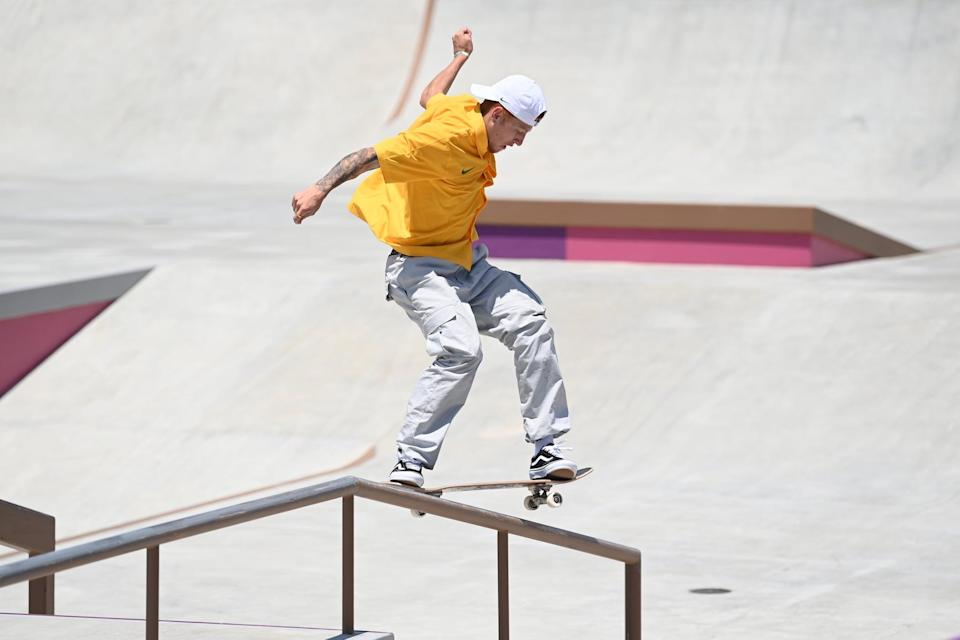 <p>Giovanni Vianna from Brazil wore his with a yellow Nike polo and classic Vans.</p>